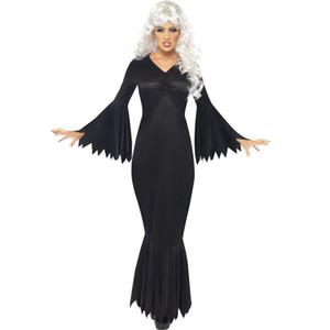Mujeres sexy con cuello en v manga de murciélago de impresión miedo Halloween bruja vestido maxi Cosplay Bodys