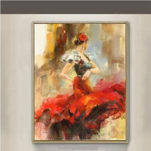 Pintado a mano de alta calidad HD Print Modern Abstract Flamenco Dancer Art Pintura al óleo sobre lienzo Arte de la pared Decoración del hogar p399