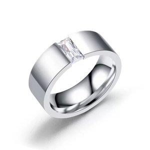 MGFam (236R) Branco Quadrado CZ Anéis Para Homens jóias de Moda 316L Titanium Aço Sem Mudar Cor Glod