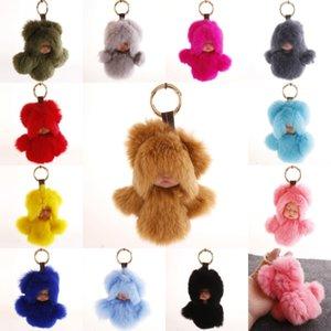 2020 Cute Fluffy Rabbit Fur Pompom Sleeping Baby Key Chain Women Rex Bunny Fur Doll Keychain Car Keyring Toy Free DHL D514Q