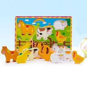 16 stilleri Büyük boy karikatür hayvan bulmacalar 30x22x0.5 cm ahşap oyuncaklar hayvan meyve arabalar gemi 1-6 T için renkli ahşap yapboz zeka oyuncakları