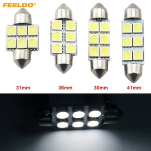 FEELDO 50PCS White Auto LED Lampadine 31mm 36mm 39mm 41mm 6-SMD 5050 Chip Festone Dome Map Cargo Car LED Light # 4817