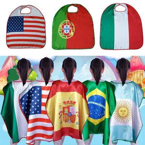 Coppa del Mondo Bandiere Stati Uniti Italia Germania Nazionale Single-Layer Bandiera Mantello Mantello Cosplay Party Celebrare Decorazione Forniture WX9-516