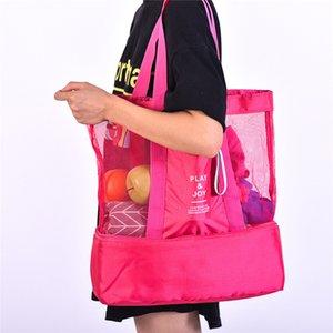 Capa multifunción refrigerador aislado bolsa de almuerzo doble de picnic al aire libre del bolso de viaje Utensilios de cocina de malla de mano maquillaje Bolsas de almacenamiento de 3 colores A41505
