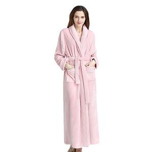 Winter Women Sleepwear Men Sleepwear 2018 Winter Big Size Thick Flannel Couple Pajamas Bathrobe Flannel Long Robes