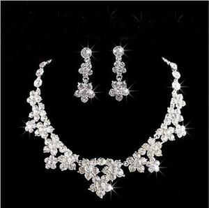 Блеск свадебные аксессуары наборы бусы ожерелье и серьги дешевые Корона Bling свадебные аксессуары онлайн 2019