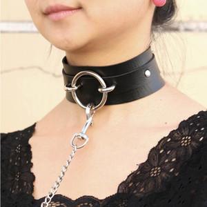 Sexy punk Gargantilla Collar Gran gargantilla de cuero artificial Bondage Goth joyería mujeres gótico collar joyería punky D18111201