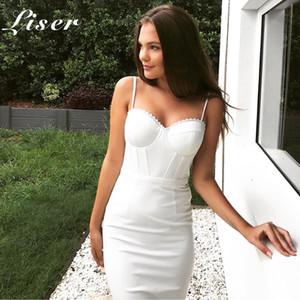 Liser 2018 جديد الصيف النساء اللباس حمالة الرباط ضمادة اللباس مثير bodycon أنيقة نادي المشاهير حزب فساتين بيضاء vestidos
