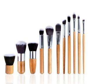11 piezas pinceles de maquillaje herramientas mango de bambú protección del medio ambiente pinceles de maquillaje kit con bolsa al por menor