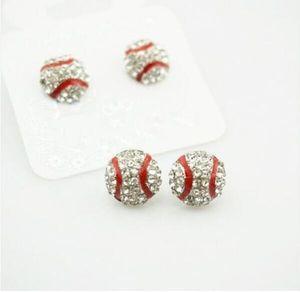 pacchetto 10 paia impermeabile alto qulity Softball orecchini perno cristallo strass Post argento Bling giallo Fastpitch 14mm Sport e moda