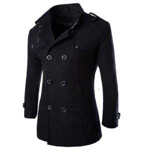 خندق معطف الرجال معطف الشتاء سترة الرجال سترة واقية سميكة الصلبة الأسود خندق معطف الرجال الإنجليزية نمط زي