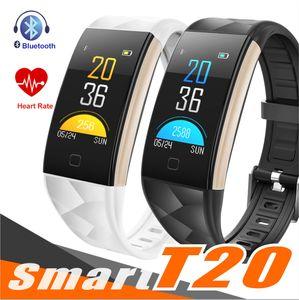 T20 Fitness Tracker intelligent Bracelet Moniteur de fréquence cardiaque Pression artérielle IP67 étanche Appel Remind Sport Podomètre pour Smartphone