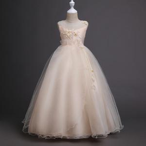 크리스마스 선물 여자 샴페인 Tulle 플라워 드레스 공주 라인 레이스 원피스 플라워 샷시 드레스 Birthday First Communion dress D11