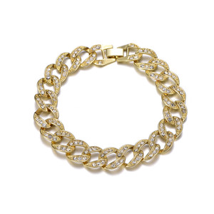 Sand Blast Bracelet Cuban Chain Link Alloy Iced Out Hip Hop Gold Silver Tone Heavy 22 MM Mens Bracelet Men Jewelry