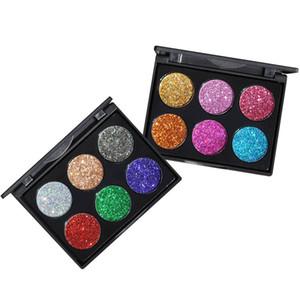 Nova marca chinesa HANDAIYAN 6 cores Glitter paleta da sombra de olho metálico Shimmer brilhante diamante Pigmento em pó 2 estilo DHL grátis