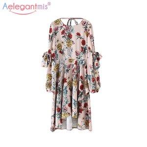 Aelegantmis Summer Fashion Bohemian Dress Mujeres Irregular Backless Linterna Vestido de manga larga Señora Floral Print Vestidos Vestidos