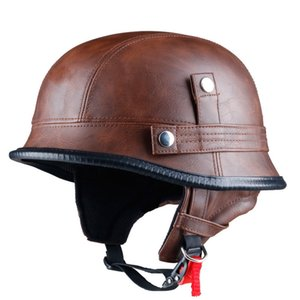Leather German Style Retro and Vintage Half Open Face DOT Approved Motorcycle Helmet With Visor for Man and Woman