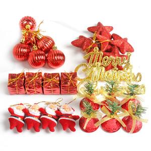 Halloween Noël 28pcs / Lot Arbre de Noël Décor suspendu Pendentif Père Noël Noël Boules Etoiles Bells Coffret cadeau de Noël pour la maison