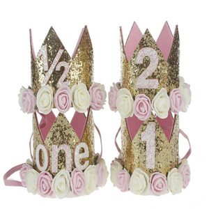 Festa de flores Crown Headband Do Bebê Menina Primeira Decoração de Aniversário 1/2 1 2 Ano Número Priness Estilo Chapéu de Aniversário Do Bebê Acessório de Cabelo