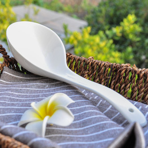 Cucharas de cerámica blanca de porcelana cocina para cocinar sopa de cucharón Hot Pot Cuchara Herramientas vajilla de cocina Accesorios