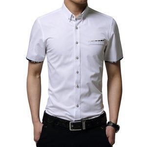 New Mens summer autumn Formal Business cotton white black Shirts Casual Slim short Sleeve Dresse Shirts Asian Size M-5XL