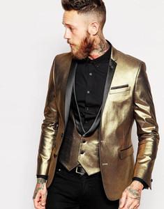 Customize Golden Two Buttons Notch Lapel Wedding Groom Tuxedos Men Suits Wedding Prom Dinner Best Man Blazer(Jacket+Tie+Vest+Pants) 81