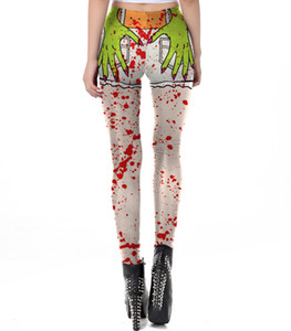 Хэллоуин Женщины Высокой Талией Леггинсы Косплей Костюм Человеческий Орган Скелет Рамка Печати Узор Крови Плотный Полная Длина Брюки