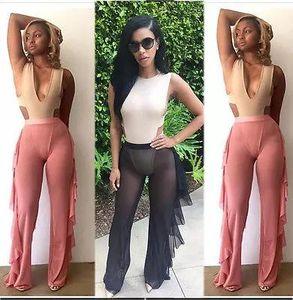Nuevas mujeres Beach Mesh Sheer Cover Up Traje Pantalones de verano Casual Womens Ladies Girl Pant Clothing
