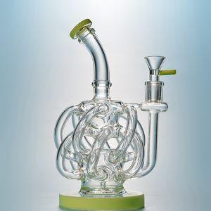 Vortex Dab Rig 12 Recycler Rohr Glas Wasser Bongs Super-Zyklon Glass Bong Lila grüne Wasserrohr 14mm Joint Oil Rig Mit Schüssel