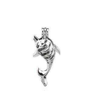 10 pçs / lote Liga De Prata Salto Golfinho Bonito Ostras Beads Medalhão Pingente Aromaterapia Perfume Óleos Essenciais Difusor
