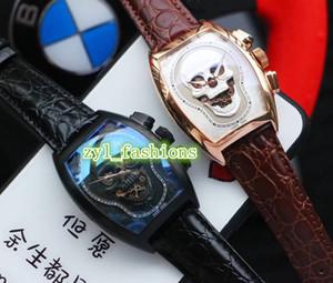 Três-agulha de luxo dos homens mais recentes assistir Top 361 aço caso crânio cabeça de discagem automática dos homens tendência mecânica relógios