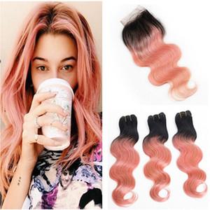 # 1B / Rose Or Ombre Brésilienne Vierge de Cheveux Humains Bundles avec Fermeture Vague de Corps Ombre Rose 4x4 Avant Dentelle Fermeture avec Weaves Extensions