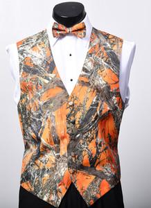 2018 Yeni Varış Rustik Düğün için Airtailors Moda Camo Yelek Erkek Kamuflaj Elbise Yelek Artı Boyutu Turuncu Renk