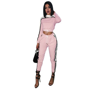 New Fashion Donna manica lunga due pezzi Jogger Set Tute Tute Casual Sexy Colore Rosa Designer Tute