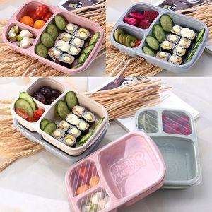 3 Gitter-Lunch-Boxen mit Deckel Mikrowelle Lebensmittel Obst Aufbewahrungsbox Take Out Container Geschirr Sets haben auf Lager WX9-301