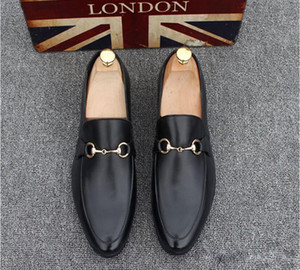Fashion Men's Casual Loafers Genuine Leather Slip-on Dress Shoes Handmade Smoking Slipper Men Flats Wedding Party Shoes