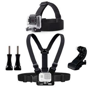 Gopro Hero 용 가슴 머리 벨트 마운트 5 4 개 액세서리 SJCAM SJ4000 Action Camera Go J 마운트 용 헤드 하네스 스트랩 장착