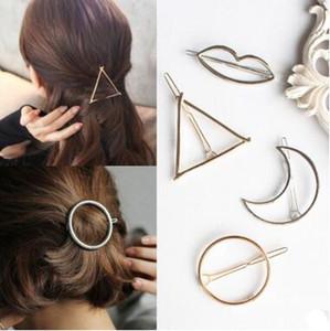 Nueva promoción de moda círculo vintage labio luna triángulo pin de pelo Clip horquilla Pretty para mujer niñas Metal joyería accesorios