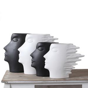 Özet Yüz Vazo Modern Sanat Rüzgar Adam Seramik Heykel İnsan Kafa Heykeli Moda Ev Dekorasyon El Sanatları Siyah Beyaz