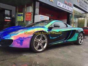Premium Blue Rainbow Chrome foglio di vinile Foil Rainbow Drift Vinyl Wrap Foglio bolla libera per Car Wrapping