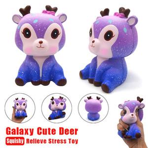 2018 Yeni Sevimli ekstrüzyon Oyuncaklar Fawn Mochi Squishy Geyik 11 cm Galaxy Sevimli Geyik Krem Kokulu Squishy Yavaş Yükselen Squeeze Kayış Oyuncaklar Çocuklar Için