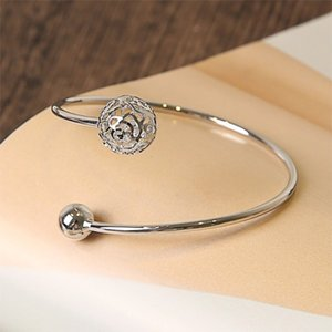 2018 Fashion geometric opening women's bracelet with hollow ball bracelet for woman and girl free shipping