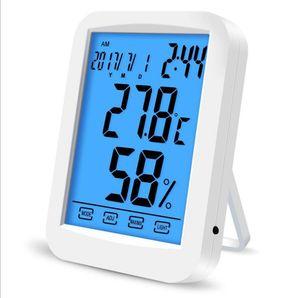 Touch Screen LCD termômetro umidade backlight Household digital Indoor Temperatura Monitor de Tempo calendário Despertador Funções