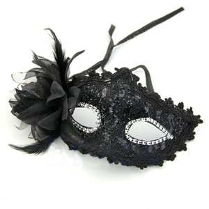 1 pcs Hot sale Sexy Venetian Lace Feather Ball Masquerade Mask Paillette Flower Party Eye Masks mascara veneciana