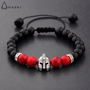 Amader Charm Knight Warrior Gladiator Helmet Bracelet Men Natural Stone Black&Red Bead Adjustable Bracelets Wholesale