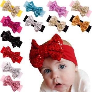 Accessori per bambini Mermaid paillettes fasce di Bowknot dei capelli della fascia di scintillio Headwrap Newborn Stretch Bow Copricapo capelli della ragazza Fotografia Props