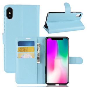 Etui portefeuille en cuir avec litchi pour Iphone XS MAX XR Samsung Galaxy A9 Star A8 MOTO E5 Play Oppo R15 PRO Housse Leechee ID Card Skin