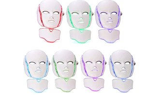 7 Color LED Facial Neck Mask EMS Microelectronics LED Photon Mask Wrinkle Removal Skin Rejuvenation For Face and Neck Beauty zzh