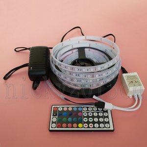Full set 5m 5050 RGB LED fita fita fita luz 300leds ip67 tubo impermeável + 12V 3A fonte de alimentação + 44key controlador remoto kit completo 5m