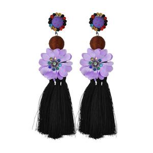 Мода длинный цветок бахромой серьги мотаться люстра